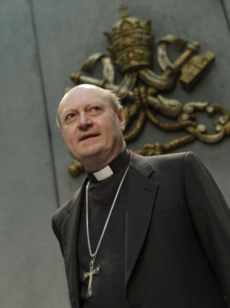 FILE -- In this file photo taken at the Vatican on March 18, 2011, Cardinal Gianfranco Ravasi, who heads the Vatican's culture office, arrives for a press conference. He looks to Amy Winehouse for inspiration and, unlike Benedict XVI, actually taps out his tweets himself. Cardinal Gianfranco Ravasi is an erudite scholar with a modern touch _ and that is seen by some as just the combination the Catholic Church needs to revive a church beset by scandal and a shrinking flock. (AP Photo/Andrew Medichini)
