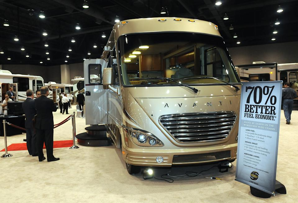 Damon Motor Coach, a subsidiary of Thor Industries, Inc., displayed it's new Avanti, a 31.5-foot-long, Class A motor home expected to get 14.5 miles per gallon Tuesday, Dec. 2, 2008, at the Recreational Vehicle Industry Association's 46th Annual National RV Trade Show in Louisville, Ky. (AP Photo/Brian Bohannon)
