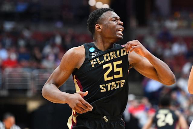 <p>Florida State forward Mfiondu Kabengele (25) grabs his jersey during the NCAA Division I Men's Championship Sweet Sixteen round basketball game between the Florida State Seminoles and the Gonzaga Bulldogs on March 28, 2019 at Honda Center in Anaheim, CA. (Photo by Brian Rothmuller/Icon Sportswire via Getty Images) </p>