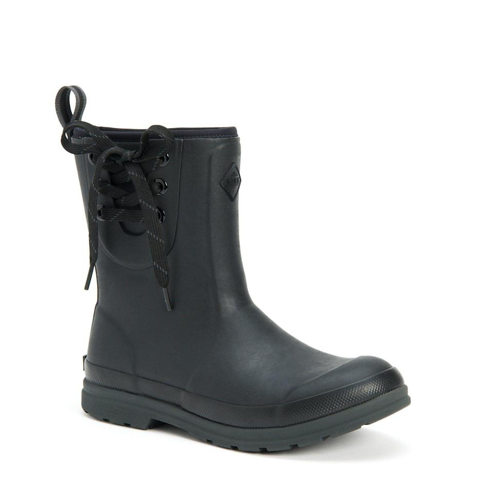 """<p>muckbootcompany.com</p><p><strong>$110.00</strong></p><p><a href=""""https://go.redirectingat.com?id=74968X1596630&url=https%3A%2F%2Fwww.muckbootcompany.com%2Fcollections%2Fwomen-function-farm-work%2Fproducts%2Fwomens-muck-originals-pull-on-mid&sref=https%3A%2F%2Fwww.thepioneerwoman.com%2Ffashion-style%2Fg34010656%2Fbest-muck-boots-for-women%2F"""" rel=""""nofollow noopener"""" target=""""_blank"""" data-ylk=""""slk:Shop Now"""" class=""""link rapid-noclick-resp"""">Shop Now</a></p><p>These pull-on boots are super comfortable to wear on long work days, thanks to their memory foam footbed. We also love the added tie at the top—it's a pretty touch on a shoe made for chores! </p>"""