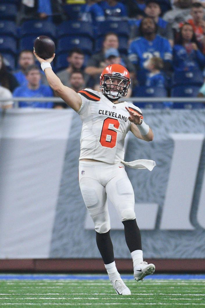 Cleveland Browns quarterback Baker Mayfield drops back to pass during the preseason game against the Detroit Lions at Ford Field on Aug. 30, 2018 in Detroit.