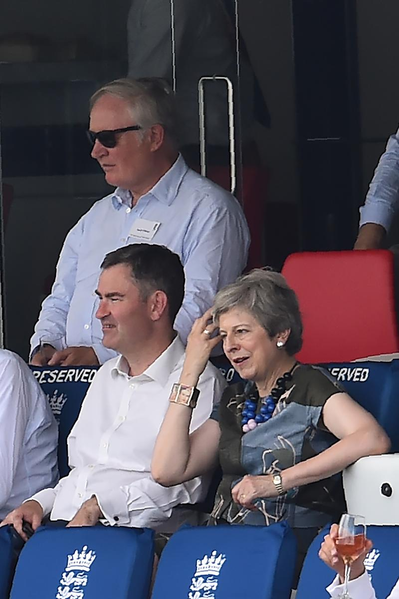 Britain's former Prime Minister Theresa May watches the proceedings with colleague former Justice Secretary and Lord Chancellor David Gauke on the second day of the first cricket test match. [Photo: Getty]