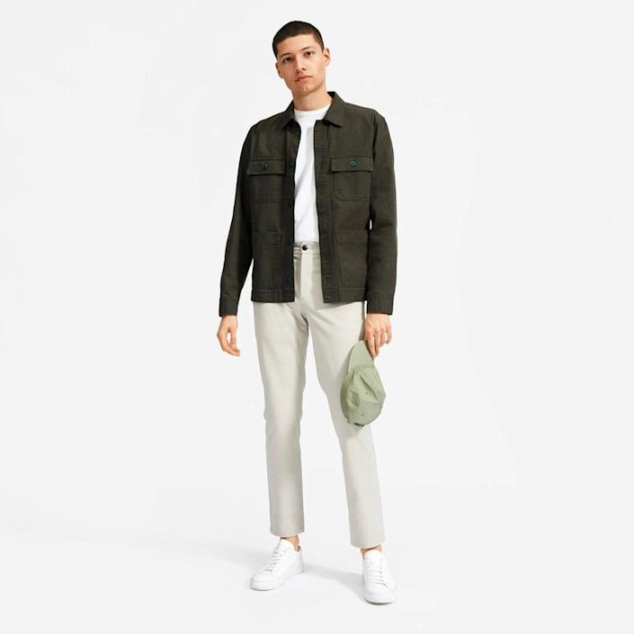 """Everlane's slim-fit chinos come in five colors and 49 different sizes and lengths. The style is part of the brand's Uniform Collection, and when you buy it, you get a 365-day warranty which covers pilling, shrinkage, and color fading. $72, Everlane. <a href=""""https://www.everlane.com/products/mens-performance-chino-stone?collection=mens-bestsellersv2"""" rel=""""nofollow noopener"""" target=""""_blank"""" data-ylk=""""slk:Get it now!"""" class=""""link rapid-noclick-resp"""">Get it now!</a>"""