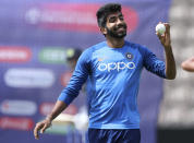 India's Jasprit Bumrah prepares to bowl in the nets during a training session ahead of their Cricket World Cup match against South Africa at Ageas Bowl in Southampton, England, Monday, June 3, 2019. (AP Photo/Aijaz Rahi)