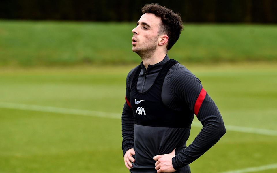 Diogo Jota of Liverpool during a training session at AXA Training Centre on February 03, 2021 in Kirkby, England. - GETTY IMAGES