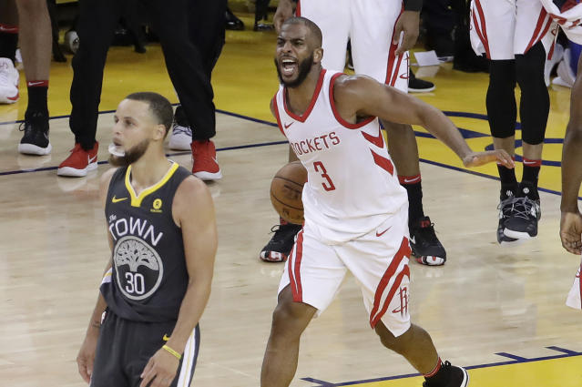 Chris Paul celebrates a massive Game 4 win that got his Rockets even with Stephen Curry's Warriors in the best-of-seven Western Conference finals.