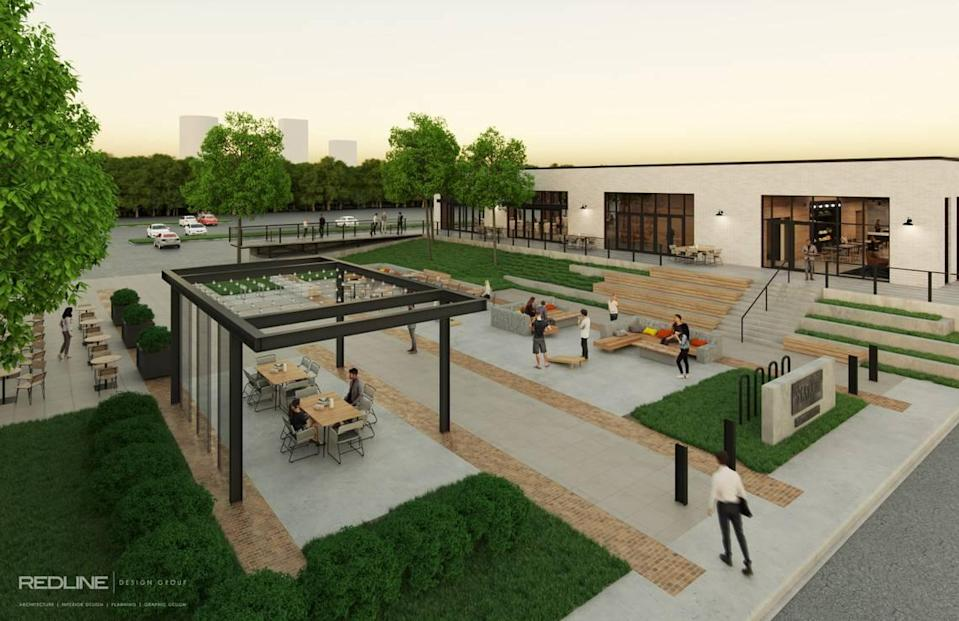 Station West is an adaptive reuse office, retail and event space at 901 and 919 Berryhill Road in FreeMoreWest.