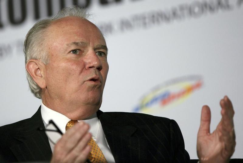 Mike Jackson, Chairman and CEO of AutoNation, speaks during a forum for the 2012 International Auto Show in New York