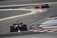 Red Bull driver Max Verstappen of the Netherlands steers his car during the third free practice at the Formula One Bahrain International Circuit in Sakhir, Bahrain, Saturday, Dec. 5, 2020. The Bahrain Formula One Grand Prix will take place on Sunday. (Tolga Bozoglu, Pool via AP)