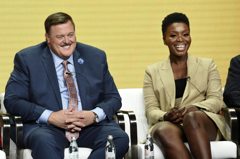 """Billy Gardell, left, and Folake Olowofoyeku, cast members in the CBS series """"Bob Hearts Abishola,"""" take part in a panel discussion on the show during the Summer 2019 Television Critics Association Press Tour at the Beverly Hilton, Thursday, Aug. 1, 2019, in Beverly Hills, Calif. (Photo by Chris Pizzello/Invision/AP)"""