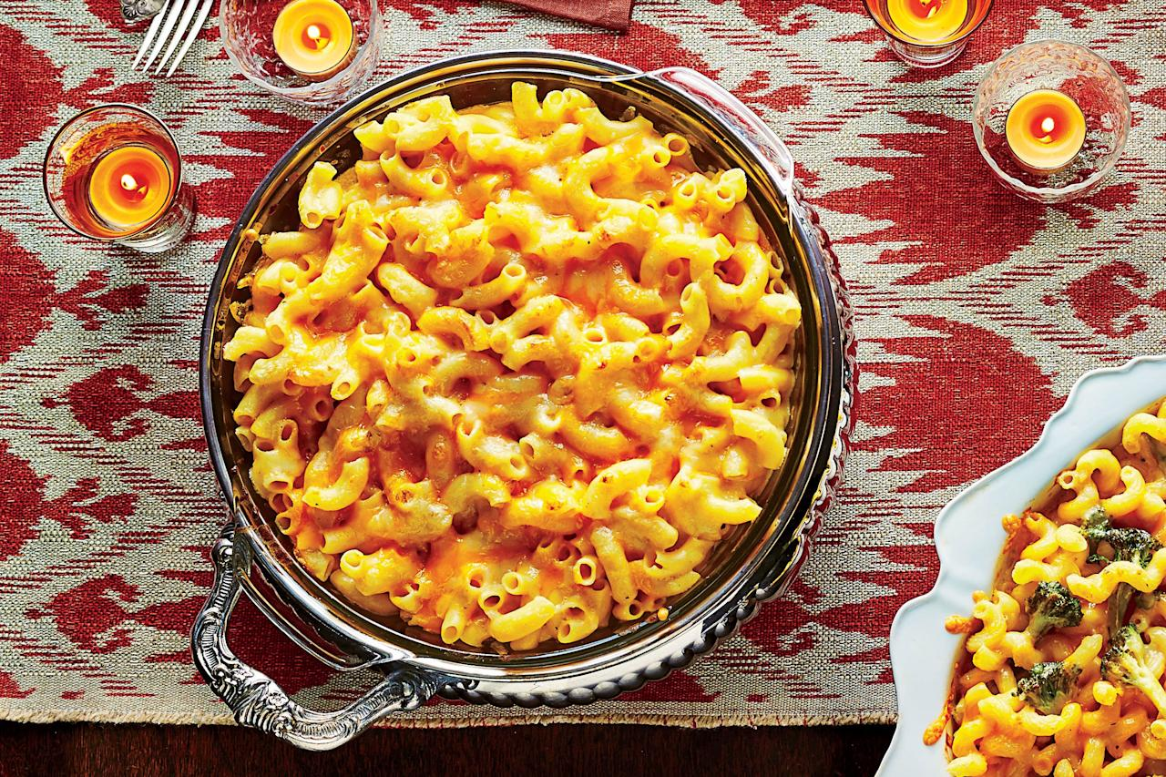 """<p><b>Recipe: <a href=""""https://www.southernliving.com/recipes/best-ever-macaroni-and-cheese-recipe"""">Best-Ever Macaroni and Cheese</a></b></p> <p> Toss in some steamed broccoli and cooked chicken before baking to transform this classic side into a satisfying dinner. </p>"""