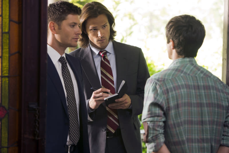 "Jensen Ackles as Dean and Jared Padalecki as Sam in the ""Supernatural"" episode, ""Bitten."""