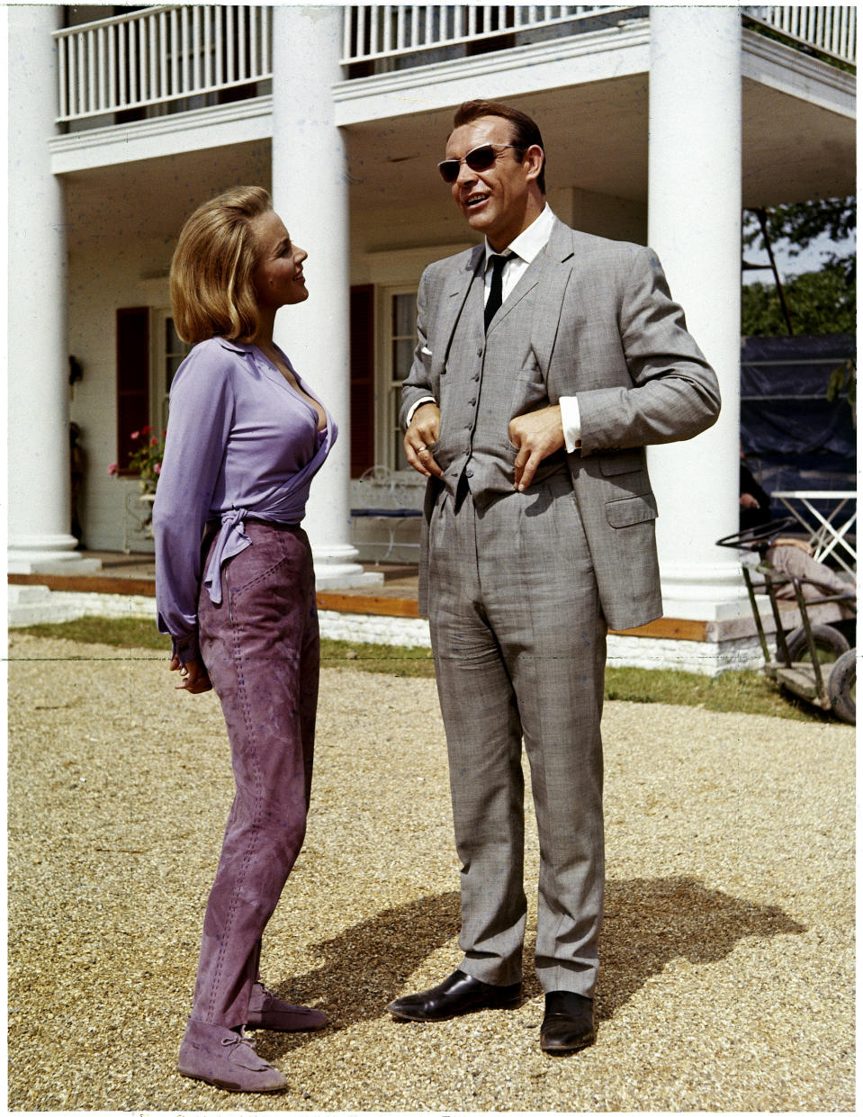 """Honor Blackman, Sean Connery in """"Goldfinger"""" 1964   (Photo by RDB/ullstein bild via Getty Images)"""