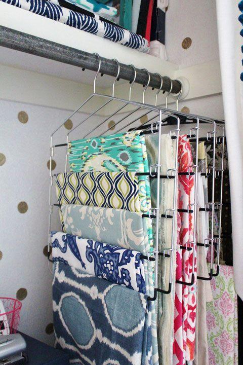 """<p>Your fabric will stay neat while remaining visible, acting as a handy reminder to actually get to sewing up something fabulous. Keep an adorable pincushion nearby for extra crafting convenience.</p><p><a href=""""http://www.iheartorganizing.com/2013/07/reader-space-working-wow-factor.html"""" rel=""""nofollow noopener"""" target=""""_blank"""" data-ylk=""""slk:See more at I Heart Organizing »"""" class=""""link rapid-noclick-resp""""><em>See more at I Heart Organizing »</em></a></p>"""