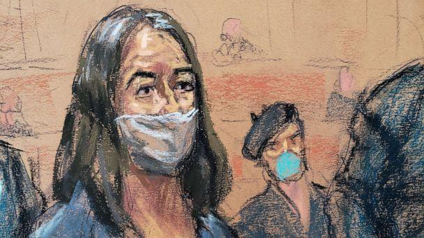 PHOTO: British socialite Ghislaine Maxwell appears during her arraignment hearing on a new indictment at Manhattan Federal Court in New York City, April 23, 2021, in this courtroom sketch.  (Jane Rosenberg/Reuters, FILE)