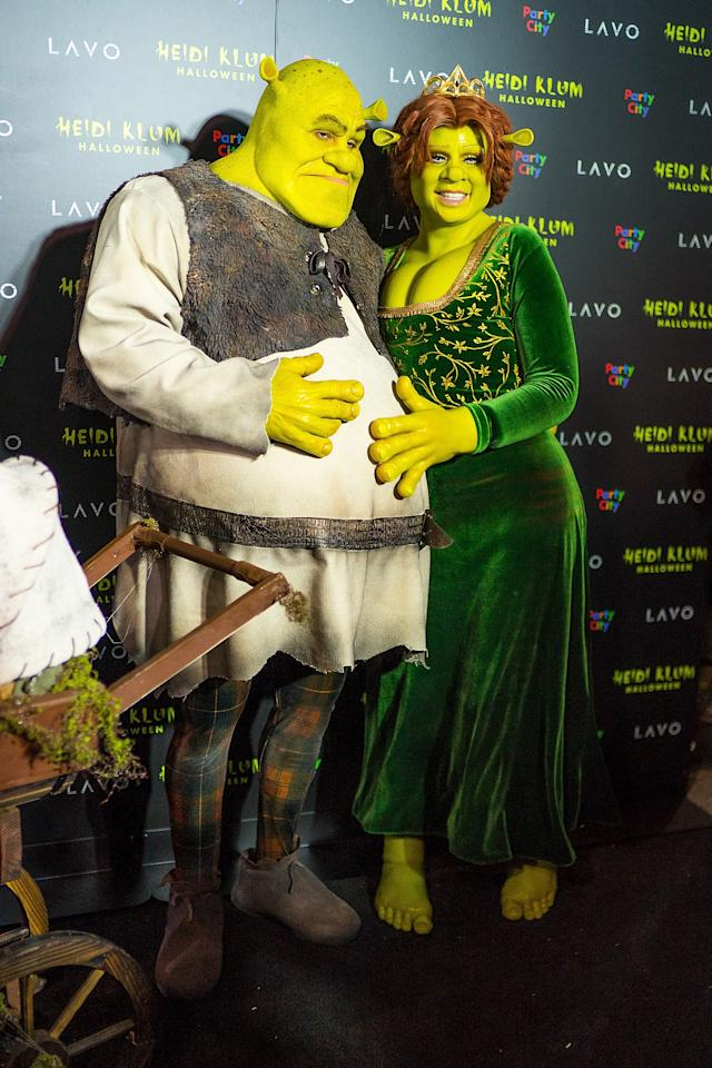This year, Heidi transformed herself one again, this time pulling out all the stops to emerge as Shrek's bride Princess Fiona. Complete with prosthetics, emerald green velvet dress, crown and red wig, the German model even got her date – boyfriend Tom Kaulitz – in on the act. <em>[Photo: Getty]</em>