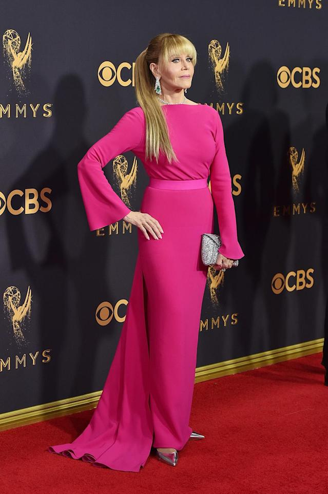 <p>Fonda was the star of the red carpet, almost unrecognizable with long blonde locks. The 79-year-old <em>Grace & Frankie</em> actress wore a bright pink Brandon Maxwell dress with gorgeous Gismondi 1754 jewels. (Photo: Getty Images) </p>