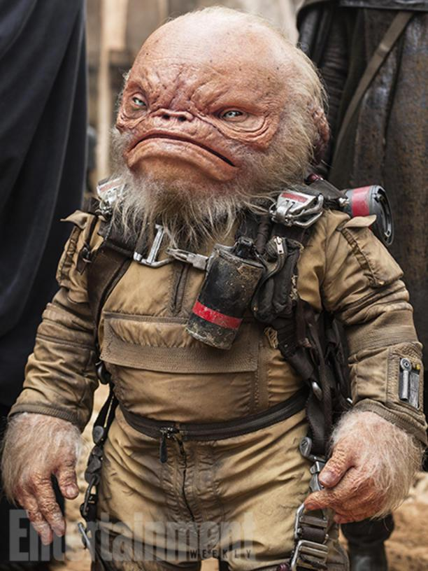 "Warwick Davis has played various characters in three Star Wars movies -- and in Rogue One he's back as a wrinkly member of Saw Gerrera's (Forest Whittaker) team. ""Warwick is performing pretty blind inside the animatronic head,"" Creature-effect supervisor Neal Scanlan says. ""He is cocooned in his [costume], and his imagination brings such incredible life to his performance."" Though Weeteef is a good rebel, his look was inspired by a mean fish. ""We thought of a piranha,"" says Scanlan, pointing out that Weeteef's name is slang (wee teeth) for his tiny, sharp incisors."