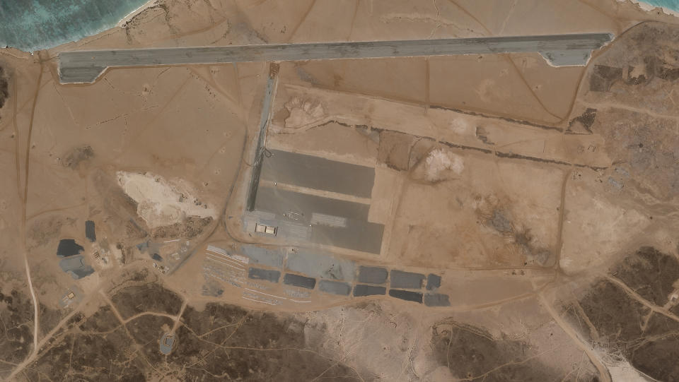 A satellite photo of a mysterious air base on Yemen's Mayun Island, being built on  April 11, 2021.