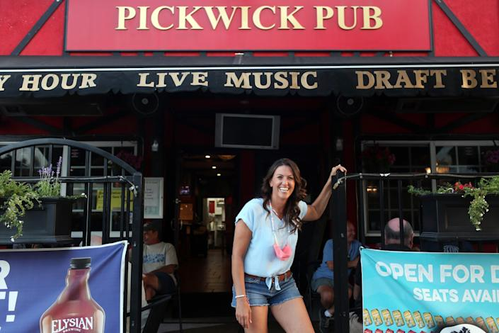 Kimberly Holman-Maiden at her family owned establishment, Pickwick's Pub in Woodland Hills.