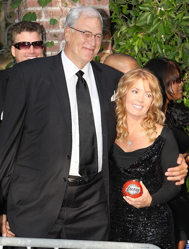 "Or maybe Lakers Coach Phil Jackson can set him straight. Looks like Jackson's girlfriend, Jeanie Buss, brought a gift for the happy couple. Mariotto/<a href=""http://www.x17online.com"" target=""new"">X17 Online</a> - September 27, 2009"