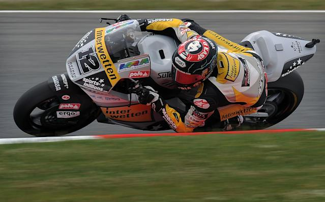 Interwetten Paddock Moto2's Swiss Thomas Luthi rides during the Moto2 race of the Catalunya Moto GP Grand Prix at the Catalunya racetrack in Montmelo, near Barcelona, on June 3, 2012. Speed Master's Italian Andrea Iannone won the race ahead of Interwetten-Paddock's Swiss Thomas Luthi and Team CatalunyaCaixa Repsol 's Spanish Marc Marquez. AFP PHOTO / LLUIS GENELLUIS GENE/AFP/GettyImages
