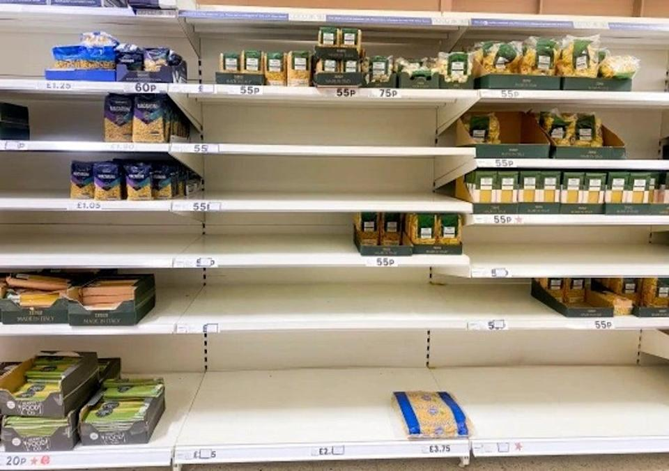 Depleted pasta stock has also been reported in Hermiston Gait, Edinburgh (SWNS)