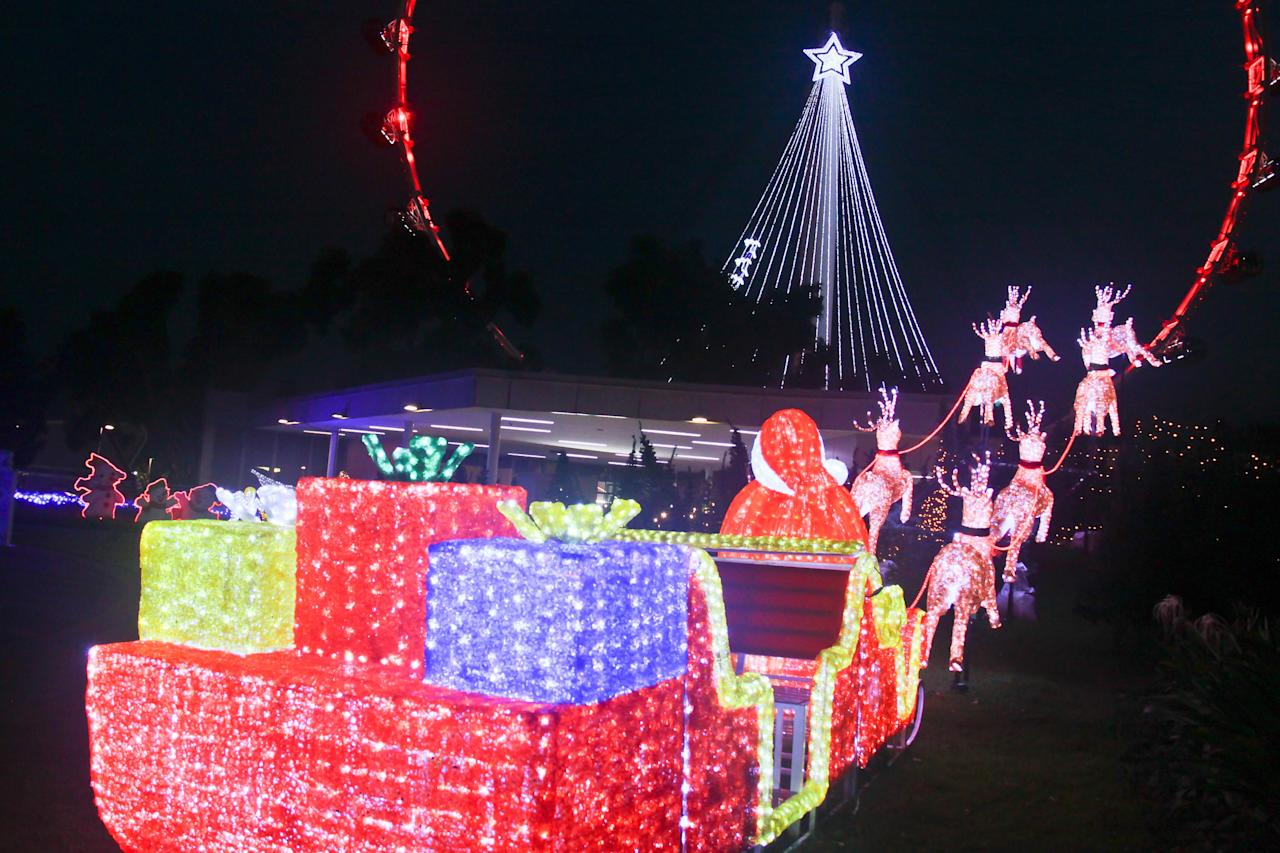 Christmas Village in the Tropics at Singapore Flyer features Santa's 12 foot sleigh.