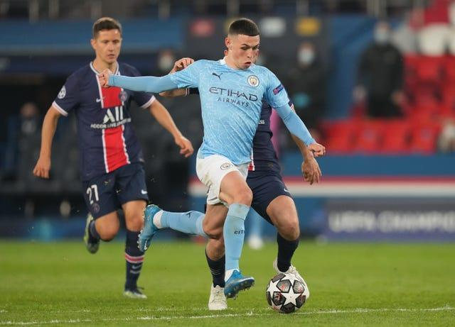 Phil Foden, centre, has produced his best on the big stage
