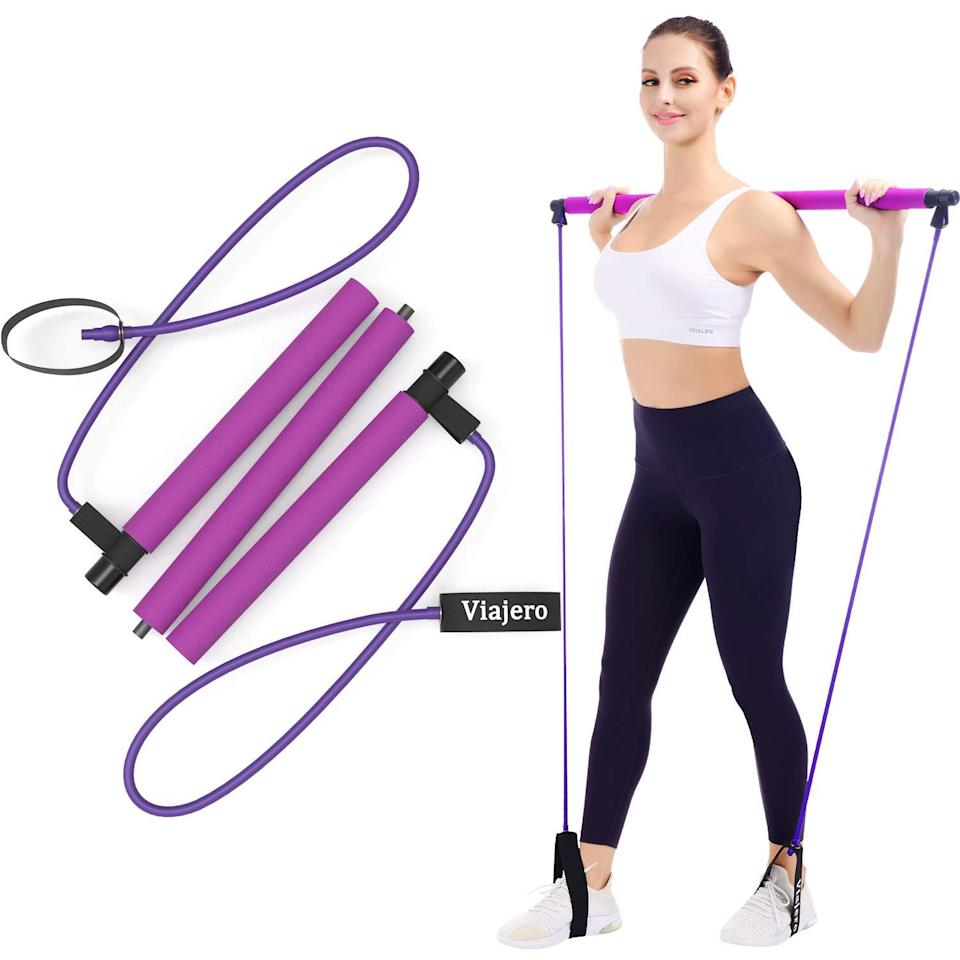 "<br><br><strong>Viajero</strong> Viajero Pilates Bar Kit for Portable Home Gym Workout - 2 Latex Exercise Resistance Band - 3-Section Sticks - All-in-one Strength Weights Equipment for Body Fitness Squat Yoga with E-Book & Video, $, available at <a href=""https://amzn.to/34Reb1P"" rel=""nofollow noopener"" target=""_blank"" data-ylk=""slk:Amazon"" class=""link rapid-noclick-resp"">Amazon</a>"