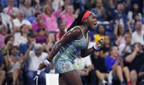 Coco Gauff, of the United States, pumps her fist after winning a point against Timea Babos, of Hungary, during the second round of the U.S. Open tennis tournament in New York, Thursday, Aug. 29, 2019. (AP Photo/Charles Krupa)