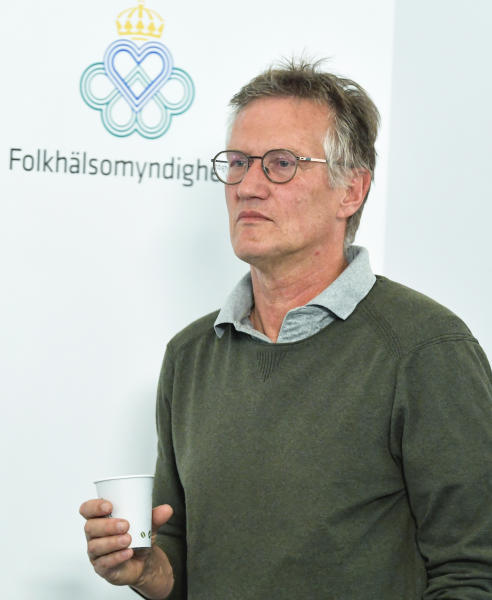 """State epidemiologist Anders Tegnell of the Public Health Agency of Sweden during a news conference on a daily update on the coronavirus COVID-19 situation, in Stockholm, Sweden, Wednesday June 3, 2020. Tagnell has shown some contrition as criticism has grown over the country's approach of not locking down the country has resulted in one of the highest death rates per capita in the world.  Tegnell told Swedish radio on Wednesday that """"I think there is potential for improvement in what we have done in Sweden, quite clearly."""" (Anders Wiklund / TT via AP)"""