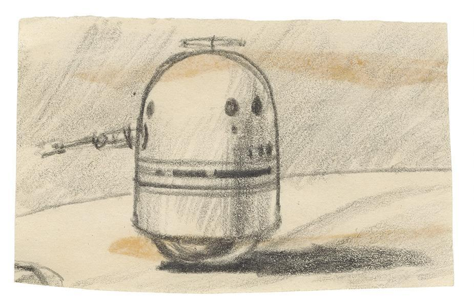 """""""There are only a couple of initial sketches for R2-D2, and likewise a small number for Vader. The characters sprung from George Lucas's mind and writing, through McQuarrie's hand,"""" says Alinger. (Residue from rubber cement is visible through the paper on a number of McQuarrie's early sketches, as he frequently reassembled sketches as he worked.)"""