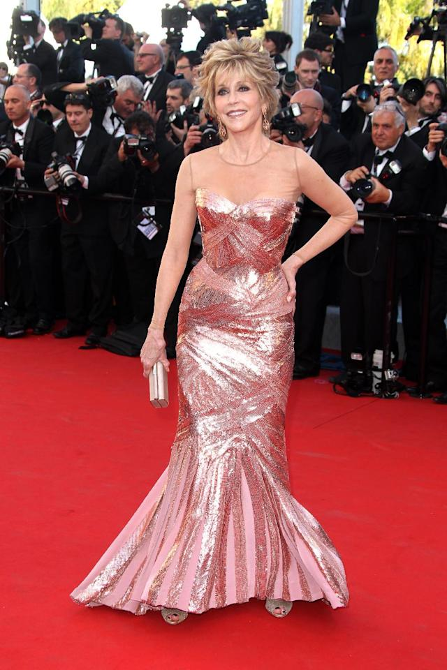"""FILE - This May 16, 2012 file photo shows actress Jane Fonda arriving for the opening ceremony and screening of """"Moonrise Kingdom"""" at the 65th international film festival, in Cannes, southern France. Fonda stars in the new film, """"Peace, Love & Misunderstanding"""" that debuts in limited release and on Video On Demand on Friday, June 8. (AP Photo/Joel Ryan, file)"""
