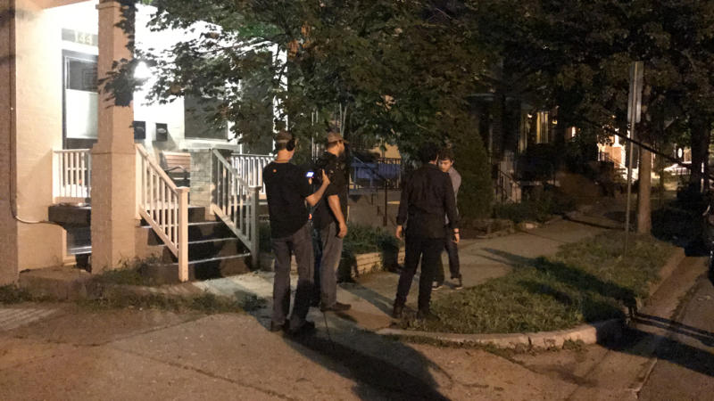 A film crew stages a conspiracy theorist's version of slain DNC staffer Seth Rich's death. (Photo: Washingtonian)