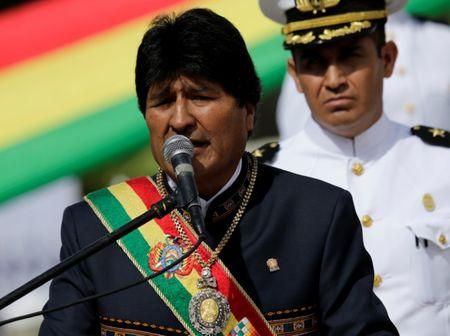 "Bolivia's President Evo Morales speaks during a ceremony commemorating the ""Dia del Mar"" (Day of the Sea) in La Paz"