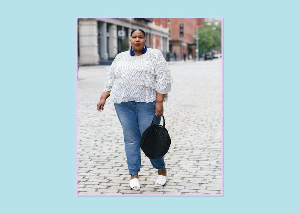 """<p><a rel=""""nofollow noopener"""" href=""""https://www.instagram.com/andigetdressed/"""" target=""""_blank"""" data-ylk=""""slk:Kellie Brown"""" class=""""link rapid-noclick-resp"""">Kellie Brown</a>, <a rel=""""nofollow noopener"""" href=""""http://www.andigetdressed.com/"""" target=""""_blank"""" data-ylk=""""slk:blogger"""" class=""""link rapid-noclick-resp"""">blogger</a><br><strong>Biggest shopping gripes: </strong>With shopping being so limited to online only, it robs us of an in-store experience and makes it impossible if we need something last-minute. For brands that do offer plus in store, you can't offer pieces that are subpar and wonder why no one bought it. Or create a tiny plus-size section in store, invest no marketing or publicity in it, and say we didn't shop when no one knew it even existed.<br><strong>Brands that get it right: </strong>I love <a rel=""""nofollow noopener"""" href=""""http://us.asos.com/women/curve-plus-size/cat/?cid=9577"""" target=""""_blank"""" data-ylk=""""slk:ASOS"""" class=""""link rapid-noclick-resp"""">ASOS</a> because they are offering the same types of styles in both plus and straight sizes. Having visited their offices in London, the curve section is not at all an afterthought, as they have large teams dedicated to the category fit and design. <a rel=""""nofollow noopener"""" href=""""http://www.eloquii.com"""" target=""""_blank"""" data-ylk=""""slk:Eloquii"""" class=""""link rapid-noclick-resp"""">Eloquii</a> is amazing because they are offering quality, runway-inspired pieces that you don't need to throw away after a season. Lastly, I think <a rel=""""nofollow noopener"""" href=""""https://www.universalstandard.net/"""" target=""""_blank"""" data-ylk=""""slk:Universal Standard"""" class=""""link rapid-noclick-resp"""">Universal Standard</a> is great because they offer a great fit and unique takes on classic design concepts.<br>(Photo: Kellie Brown) </p>"""