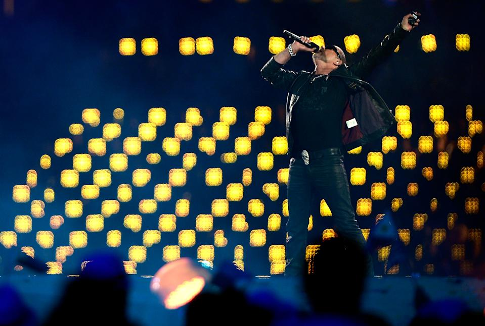 Global artist George Michael performs during the Closing Ceremony on Day 16 of the London 2012 Olympic Games at Olympic Stadium on August 12, 2012 in London, England. (Photo by Pascal Le Segretain/Getty Images)