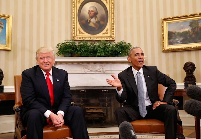 <p>President Obama meets with President-elect Donald Trump in the Oval Office of the White House in Washington, D.C., on Nov. 10, 2016. (AP Photo/Pablo Martinez Monsivais) </p>