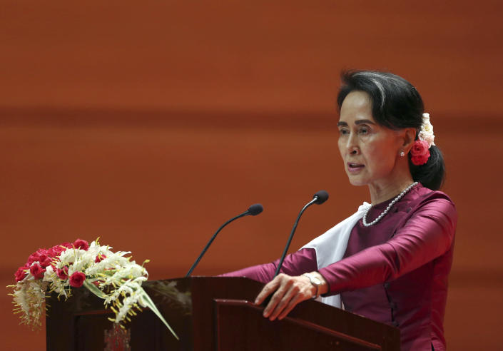 Myanmar's State Counsellor Aung San Suu Kyi delivers a televised speech to the nation at the Myanmar International Convention Center, Sept. 19, 2017. (Photo: AP)
