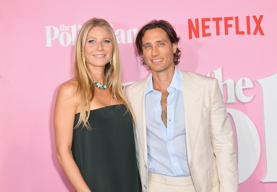 US actress Gwyneth Paltrow and her husband writer/producer Brad Falchuk arrive for the Netflix premiere of