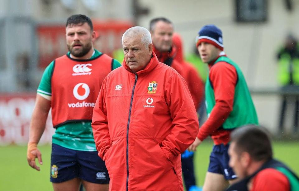 Warren Gatland, the Lions head coach, looks on during a training session at Jersey's Stade Santander International on Tuesday (Getty)