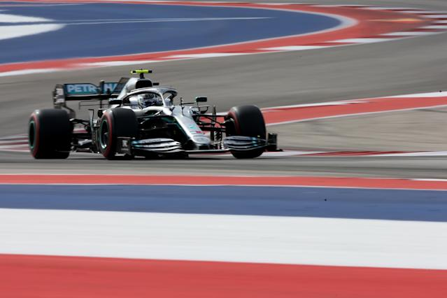 AUSTIN, TEXAS - NOVEMBER 02: Valtteri Bottas driving the (77) Mercedes AMG Petronas F1 Team Mercedes W10 on track during final practice for the F1 Grand Prix of USA at Circuit of The Americas on November 02, 2019 in Austin, Texas. (Photo by Charles Coates/Getty Images)