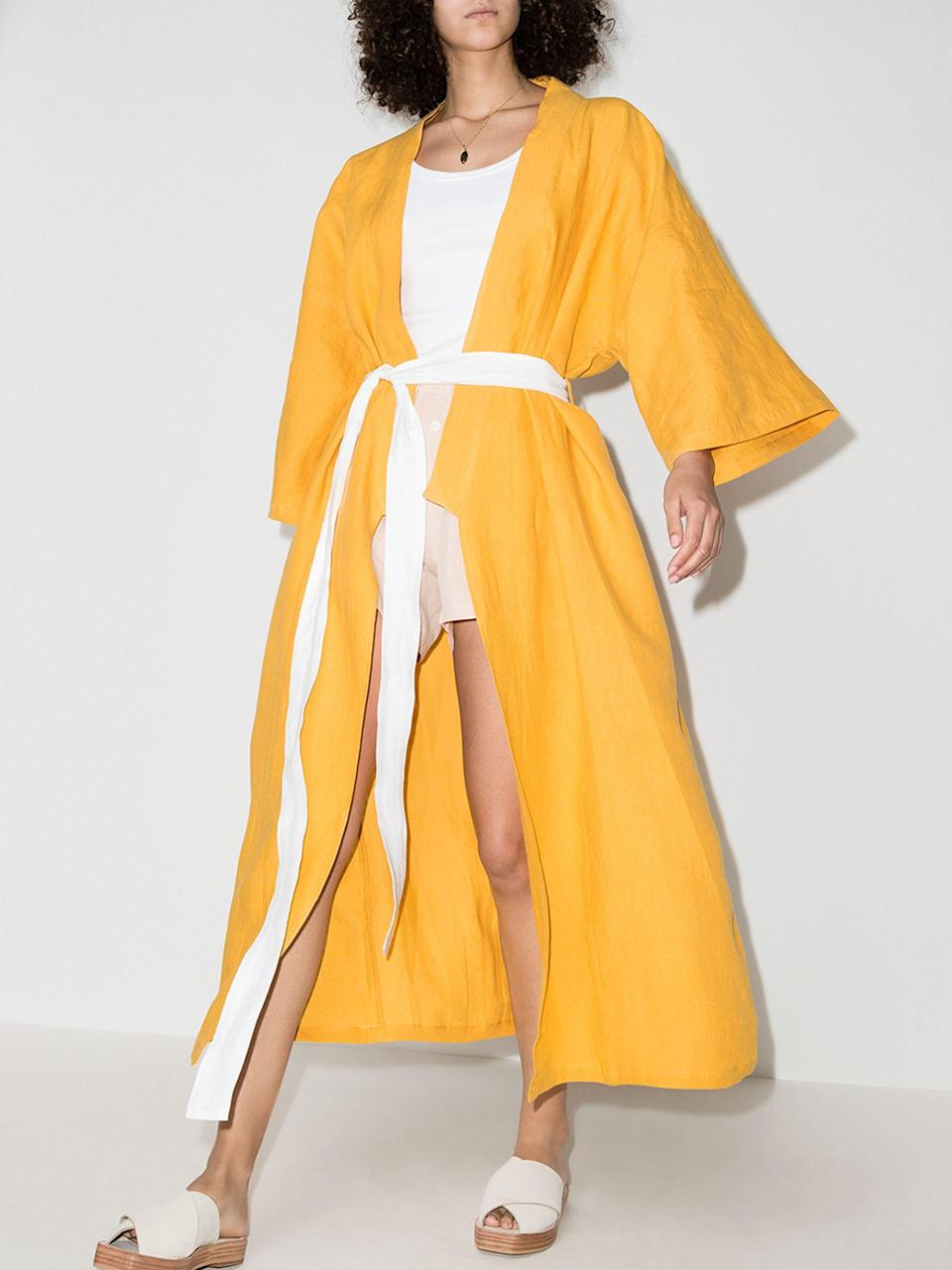 """<br><br><strong>Deiji Studios</strong> The 02 Robe, $, available at <a href=""""https://go.skimresources.com/?id=30283X879131&url=https%3A%2F%2Fwww.brownsfashion.com%2Fshopping%2Fdeiji-studios-the-02-kimono-robe-15781973"""" rel=""""nofollow noopener"""" target=""""_blank"""" data-ylk=""""slk:Browns"""" class=""""link rapid-noclick-resp"""">Browns</a>"""