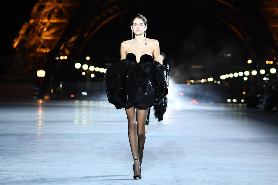 Kaia Gerber walked for Saint Laurent on Tuesday night [Photo: Getty]
