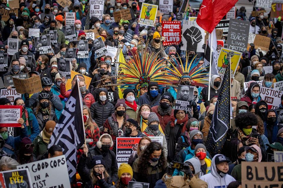 <p>Protesters in Minneapolis marched after the case went to the jury at the Hennepin Government Center on April 19.</p>
