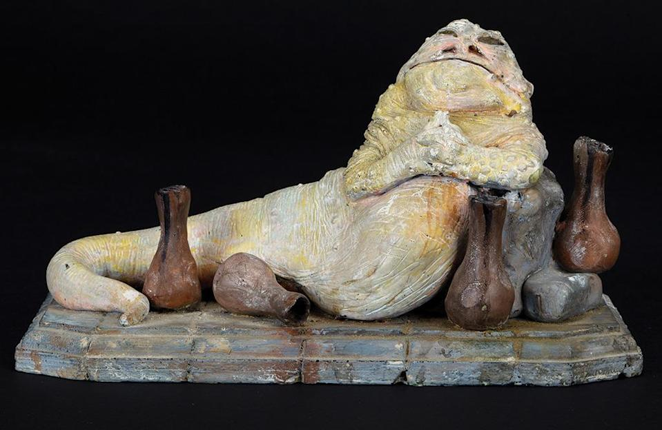Speaking of the Tattooine-based crime lord, the original design sculpture made by legendary Oscar-winning visual effects artist Phil Tippett is also up for sale. There is only one of these bad boys left, and it's expected to go for $12,000-15,000. (Profiles in History)