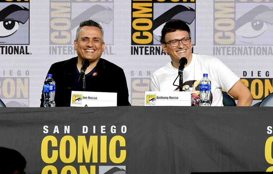 """SAN DIEGO, CALIFORNIA - JULY 19: Joe Russo and Anthony Russo speak at the Writing """"Avengers: Endgame"""" Panel during 2019 Comic-Con International at San Diego Convention Center on July 19, 2019 in San Diego, California. (Photo by Kevin Winter/Getty Images)"""