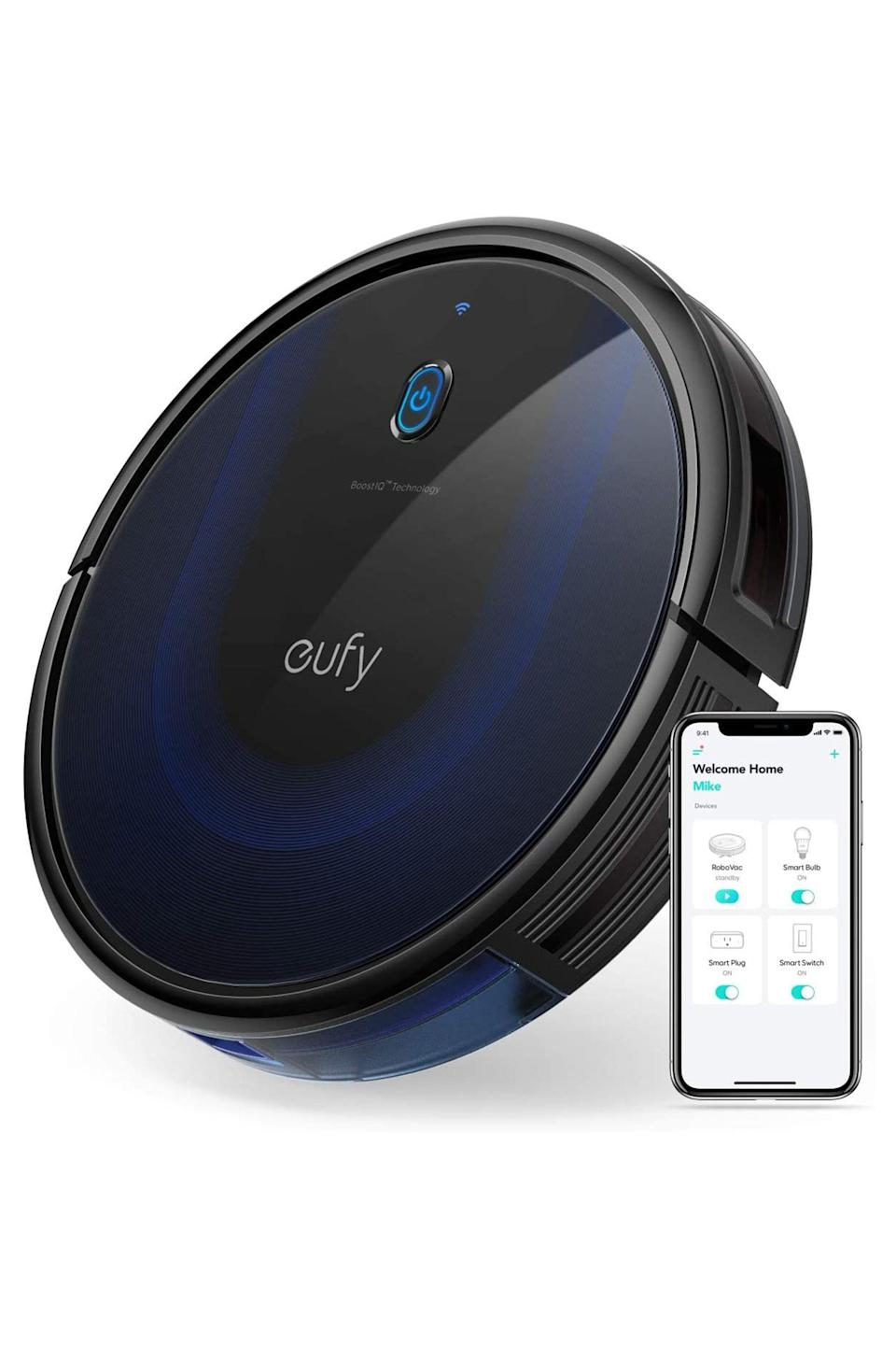 """<p><strong>eufy by Anker</strong></p><p>amazon.com</p><p><strong>$175.99</strong></p><p><a href=""""https://www.amazon.com/dp/B07RGDFZ5Q?tag=syn-yahoo-20&ascsubtag=%5Bartid%7C10051.g.13053688%5Bsrc%7Cyahoo-us"""" rel=""""nofollow noopener"""" target=""""_blank"""" data-ylk=""""slk:Shop Now"""" class=""""link rapid-noclick-resp"""">Shop Now</a></p><p>It's hard to come by a list of best robot vacuums online (written by experts who actually tested hundreds of models) where eufy's RoboVac 15C MAX isn't included as a budget-friendly mention. The RoboVac 15C MAX has wifi and Alexa voice connectivity, which makes it easy breezy to set up and use. Reviewers love how it delivers an impressive clean with strong suction and self-charges after a clean. </p>"""