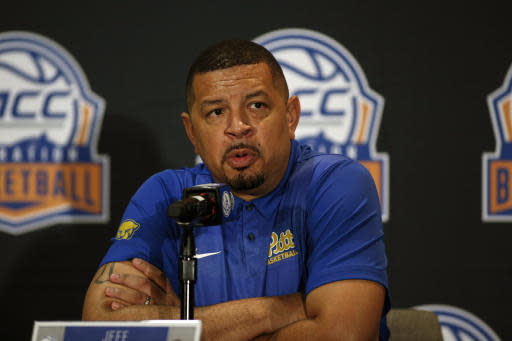 Pittsburgh coach Jeff Capel answers a question during the Atlantic Coast Conference NCAA college basketball media day in Charlotte, N.C., Tuesday, Oct. 8, 2019. (AP Photo/Nell Redmond)